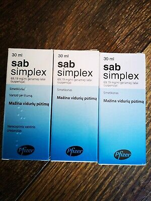 3x SAB SIMPLEX Drops, Suspension - Colic Baby, Bloating 30ml