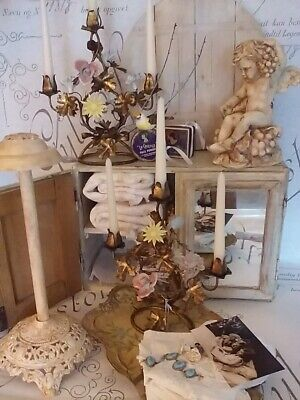 Antique French Porcelain Flowers Ornate Candelabra PAIR Patina