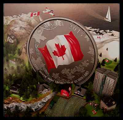 2015 Canada 50th Anniversary of Canadian Flag, Coloured Fine Silver Coin