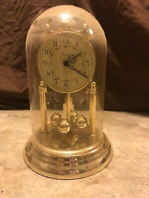 Haller Anniversary Clock Germany Glass Dome Key Mech-92 D-Simonswald Working 12""
