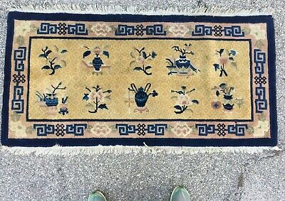 Antique Vtg Chinese Oriental Rug Blue Gold mid 20th Century 4ft 8in X 2ft 3in