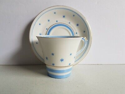 Roslyn Bone China England Blue and White Stars Cup and Saucer Set Vintage