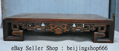 "15.2"" Old China Huanghuali Yellow Wood Hand Carved Table Desk Antique Furniture"