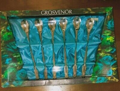VINTAGE 'GROSVENOR' SILVER PLATED DESSERT SPOONS Brand New