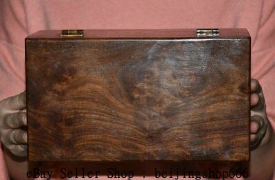 "10"" Antique Chinese Dynasty Palace Huanghuali Wood Carved Storage Jewelry box"