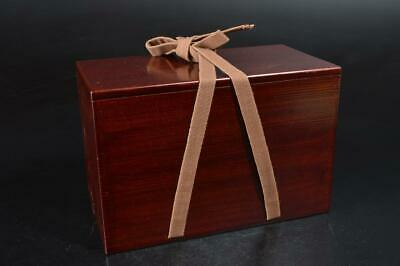S8699: Japanese Wooden Lacquer ware TEA CADDY BOX Chaire Container Tea Ceremony