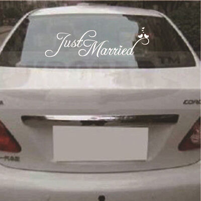 Just Married White Wedding Car Cling Decal Sticker Window Banner DecorIYH2