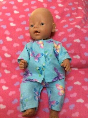 """DOLLS CLOTHES - Pyjamas to fit 17"""" Baby Born doll ~ Mint : Butterflies"""