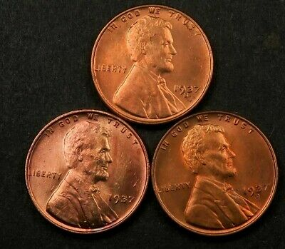 1937 P+D+S Wheat Penny Set ~ Gem BU *red* ~ 3 Coin Lot #292