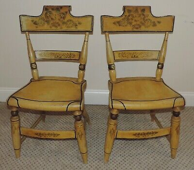 Pair Antique Yellow Paint Chairs Stenciled Hitchcock Thick Wood Seats