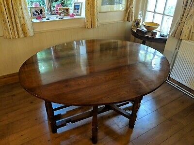 Antique solid oak dining table - 8 seater