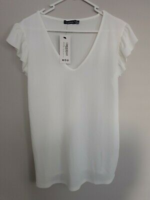 Boohoo Maternity Ruffle Top White 12 New With Tags