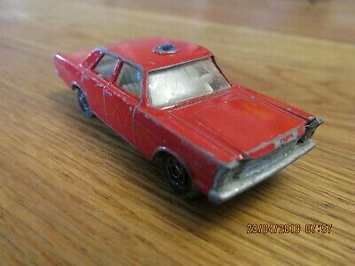 Vintage 1960S Lesney Matchbox No.59 Fire Chief Ford Galaxie Die Cast Metal Model