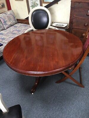 Antique Victorian Tilt Top Round Table Ceramic Castors