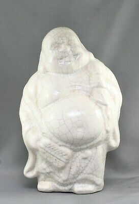 Vintage Chinese Ding Yao White Crackle Glaze Happy Buddha Statue