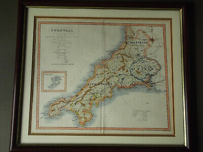 Old Cornwall map 19th century engraving by J&C Walker showing foxhound meetings.