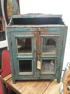 Beautiful Antique Vintage Indian Wooden Cupboard with small galleried shelf