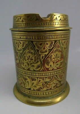 Vintage Indian Heavy Brass Ashtray Container Painted  Engraved Design