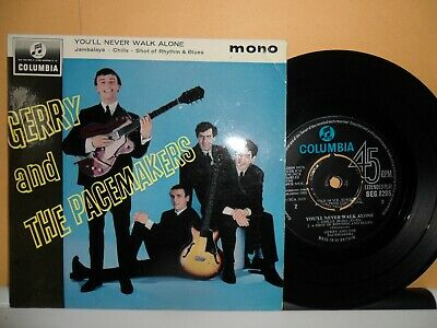 "Gerry The Pacemakers.you'll Never Walk Alone.columbia 4 Track Ep.7"" Vinyl.45 Rpm"