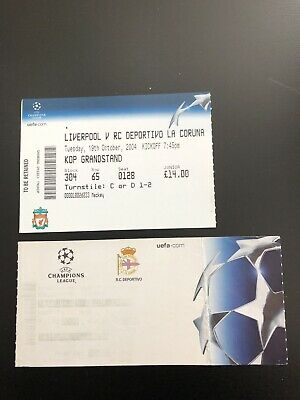 Deportivo La Coruna V Liverpool 2004-5.  Rare European Match ticket.