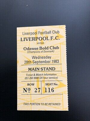 LIVERPOOL v Odense.  ORIGINAL TICKET EUROPEAN CUP - 28-9-83