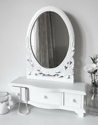 Crisp White shabby / chic Dressing Table Mirror French