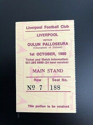 LIVERPOOL v Oulun Pallosuera ( OPS) ORIGINAL TICKET EUROPEAN CUP - 1-10-80