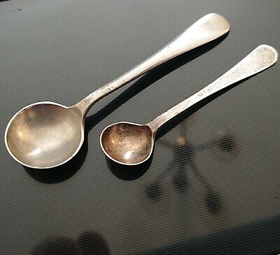 2x Solid Silver Vtg Mustard Pot Small Mini Tiny Serving Spoons Table Cutlery Old