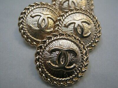 CHANEL BUTTONS lot of 4 GOLD 14 mm over 1/2 inch metal  cc logo