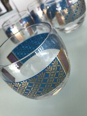 Vintage GEORGES BRIARD - Set of 4 ROLY POLY GLASSES -Blue Purple & Gold