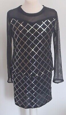 Girls teens black silver sequin pencil skirt long sleeve top set age 11-16 Years