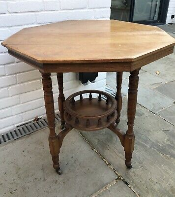 Lovely Edwardian Small Hexagonal Occasional / Side Table With Shelf Wood Antique