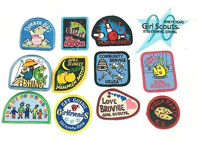 VTG LOT 8 Girl Scout Brownie Patches Cookies Camp Crafter