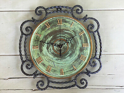 Vintage Danish Black Wrought Iron Wall Clock NEW QUARTZ BATTERY MOVEMENT 13 Inch