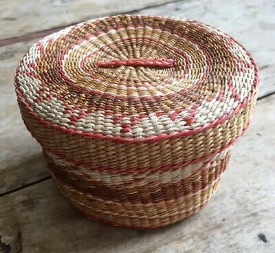 ETHNIC Vintage Boho Storage Pot SEAGRASS Woven basket Container  With Lid
