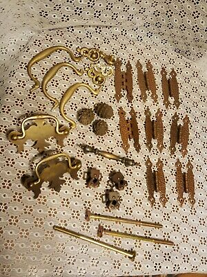 Lot Of Cabinet Hardware-Hammered Copper (?) Hinges/Knobs/Handles