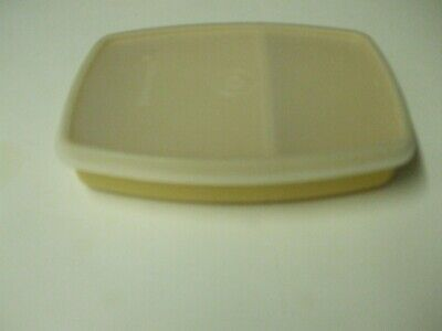 Tupperware 813 Divide Snack Lunch Container Almond with Sheer Seal Lid 814