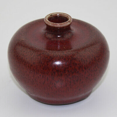 Chinese antique old hand-carved porcelain red glaze writing-brush washer b01