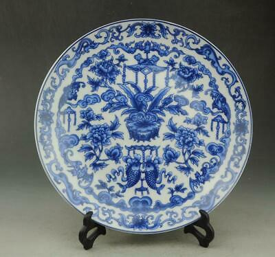 Chinese old hand-made porcelain Blue and white fish and flower pattern plate b02
