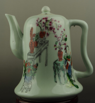Chinese old hand-made famille rose porcelain flower and woman pattern teapot c01