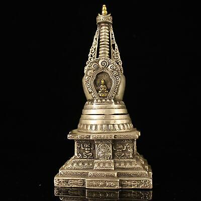 chinese old Copper plating silver hand-made gold drawing pagoda statue e02D