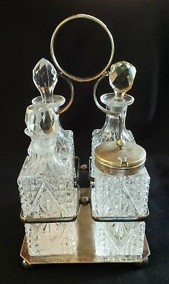 Antique Victorian Glass Condiment Set 4 Cruets/Bottles EPNS Silver Plate Holder