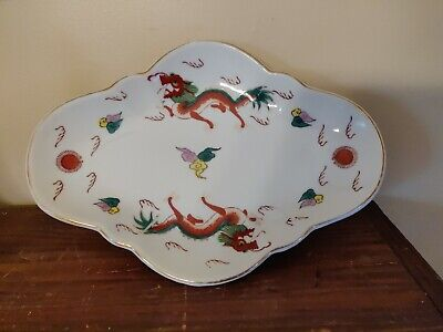 "Antique Chinese Porcelain Footed Dish 12 ¼"" x 8½"" Dragons Marked Restaurantware"