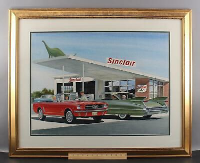 Authentic Jack Schmitt Painting, Sinclair Gas Station 65 Mustang 60 Cadillac, NR