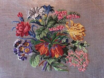 Vintage Petitpoint Petit Point Embroidery Wildflowers For Framing
