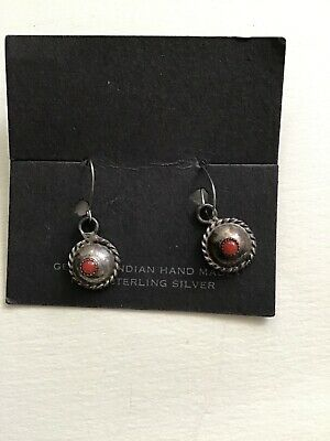 Vintage Hand Made Pair Of Indian Sterling Silver Earrings With Red Stone