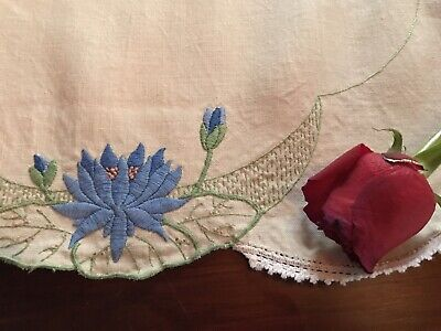Vintage Linen Heavily Hand Embroidered Water Lily Runner Crochet Lace Blue