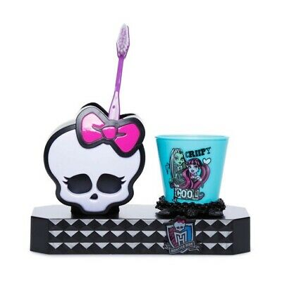 Monster High Girls Fangtastic Smile Set Toothbrush Holder Rinse Cup Bathroom NEW
