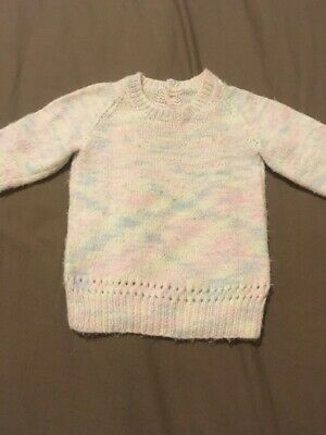 Baby Girls Long Sleeve Hand Knitted Jumper Size 00 GUC