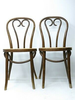 MID CENTURY Vtg Pair Thonet ? Romania Cafe Chair Bentwood Canes Parlor HEART